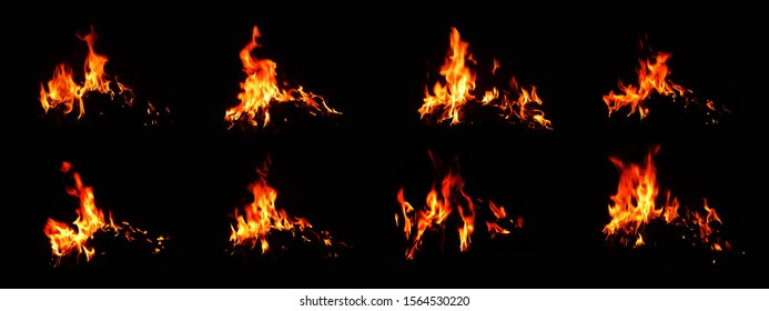 A set of bonfire on a black background The heat energy that burns the fuel at night
