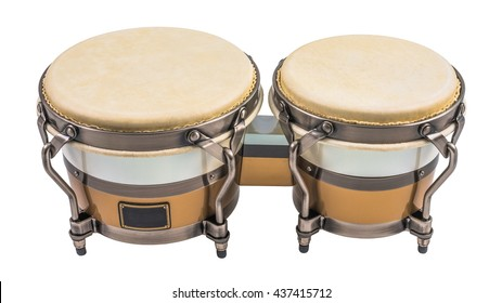 Set of Bongo Drums Isolated on a White Background. Latin percussion.