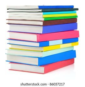 set of books isolated on white background