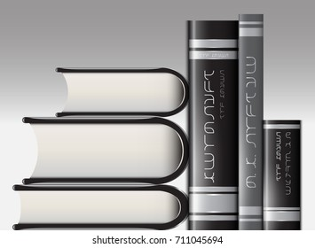 A set of books that stand on the shelf