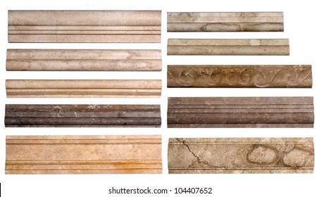 Set border stone marble isolated on white background