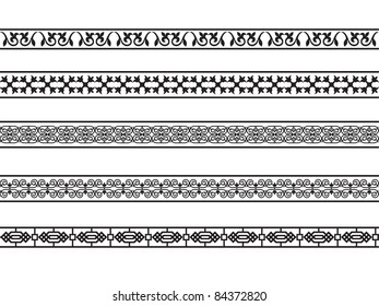 Set of borders with the Arab floral and geometric designs.