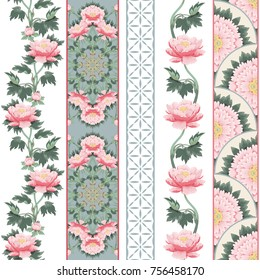 Set of borders with floral and geometry patterns. Peony flowers. Illustration imitates traditional Chinese ink painting