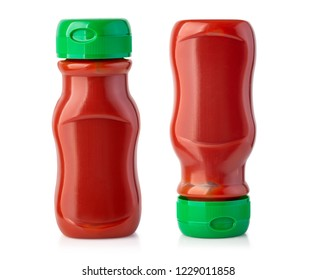 set of Bottle of Ketchup isolated on white background  with clipping path