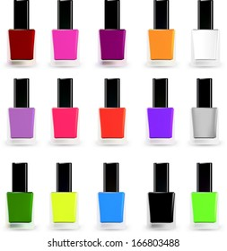 Set bottles of nail polish in various colors