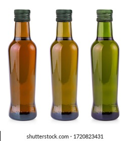 The set of  bottles with olive oil on white background