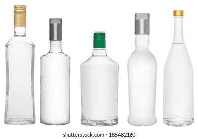 Set bottles of russian vodka on a white background.