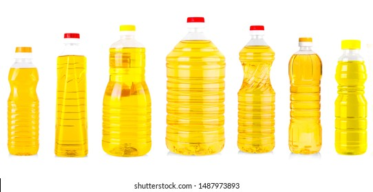 Set of Bottles of sunflower oil isolated on white background