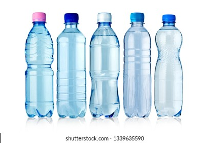 set of  bottles of water isolated on white background