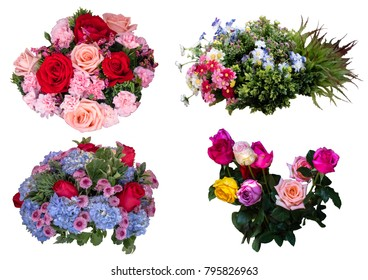 The set of bouquets of flowers.