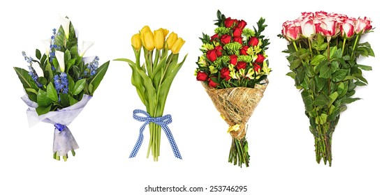 The set of bouquets of flowers, tulips, orchids, roses, callas hand bells. isolated on the white