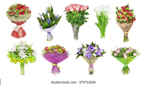 The set of bouquets of flowers, tulips, orchids,  lilies, roses, callas, hand bells. isolated on the white
