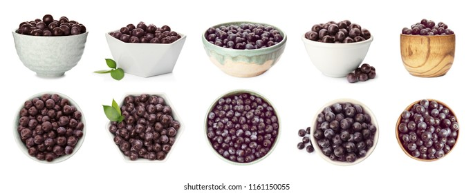 Set of bowl with acai berries on white background. Organic superfood