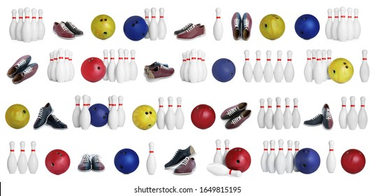 Set of bowling balls, pins and shoes on white background