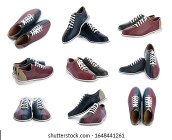 Set of bowling shoes on white background