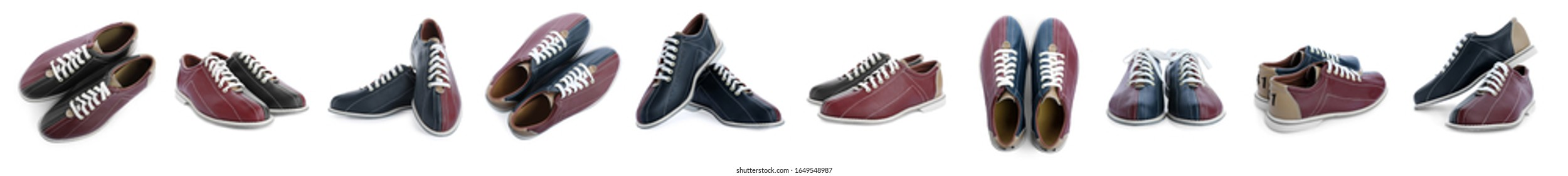 Set of bowling shoes on white background. Banner design