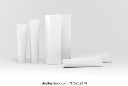 Set of boxes of tubes 3d render (mock up design)
