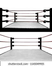 Set of boxing ring isolated on white background