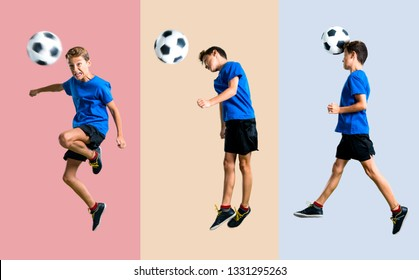 Set of Boy playing soccer hitting the ball with the head