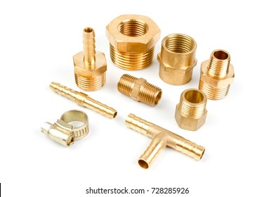 Set Brass Fittings isolate on white background