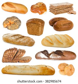 Set of bread and buns isolated on white background.
