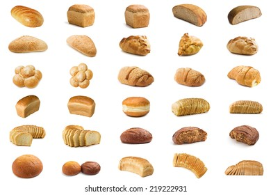 Set bread isolated on white background