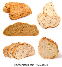 Set of a  bread  on a white background