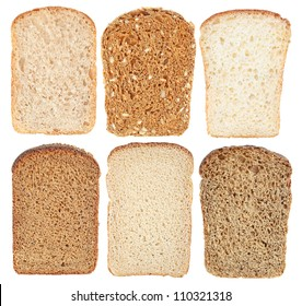 Set bread slice on a white background.