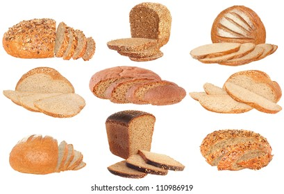 Set bread sliced on a white background.