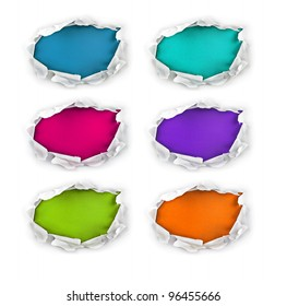 Set of breakthrough paper holes with colorful backgrounds.