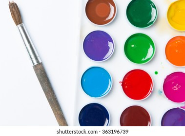 set of bright fresh colors with brush