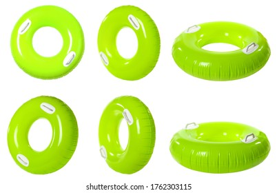 Set with bright inflatable rings on white background
