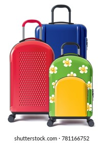 Set of bright wheeled suitcases. Valises for tourists. 3d illustration