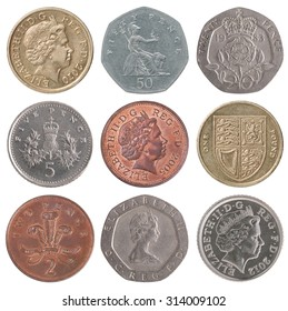 A set of British coins on white background
