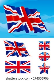 Set of British flag. Flag of United Kingdom on blue sky, Isolated on white background and icons with it - star, square and oval shape