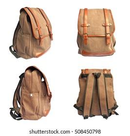 Satz brauner Tasche auf weißem Hintergrund, Rucksack für die Reise