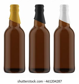 Set of brown beer bottles with colored caps isolated on white background. 3D Mock up for your design.