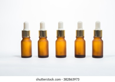 set of brown bottle on isolated background