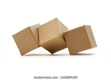 Set of brown cardboard cubes isolated on white background with clipping path