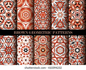 Set of brown kaleidoscope seamless patterns. Decorative mandala ornaments. Geometric design elements. Vintage wallpaper, fabric, furniture, paper print. Abstract vector flower and star. Elegant style