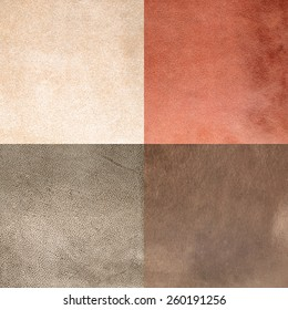 Set of brown leather samples, texture background.
