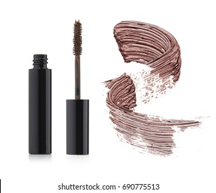 Set of brown mascara with a single color swipe on a white background