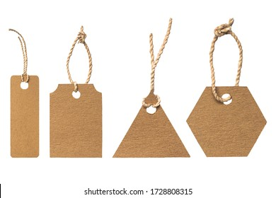 set of brown paper label tag isolated on white background