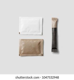 Set of Brown sugar packet on white background isolated