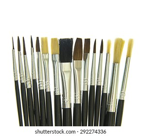 Set of Brushes for the Artist. Isolated on White Background.