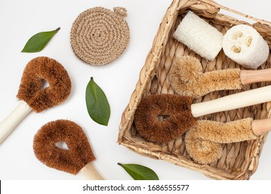 a set of brushes and sponges for eco-cleaning the home, washing dishes and surfaces without chemicals and plastic