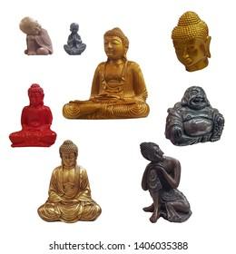 Set of Buddha figurines isolated on white background