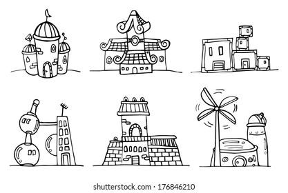 Set of building doodle