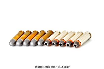 Set of bullets for 38 revolver handgun, studio shot