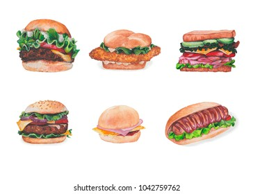 Set of burgers (cheeseburger, sandwich, hotdogs, hamburger, chickenburger,fishburger)